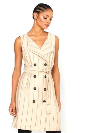 Vero Moda Kadın Bej Çizgili Belden Bağlamalı Kolsuz Gömlek Elbise 10227935 VMKLARA