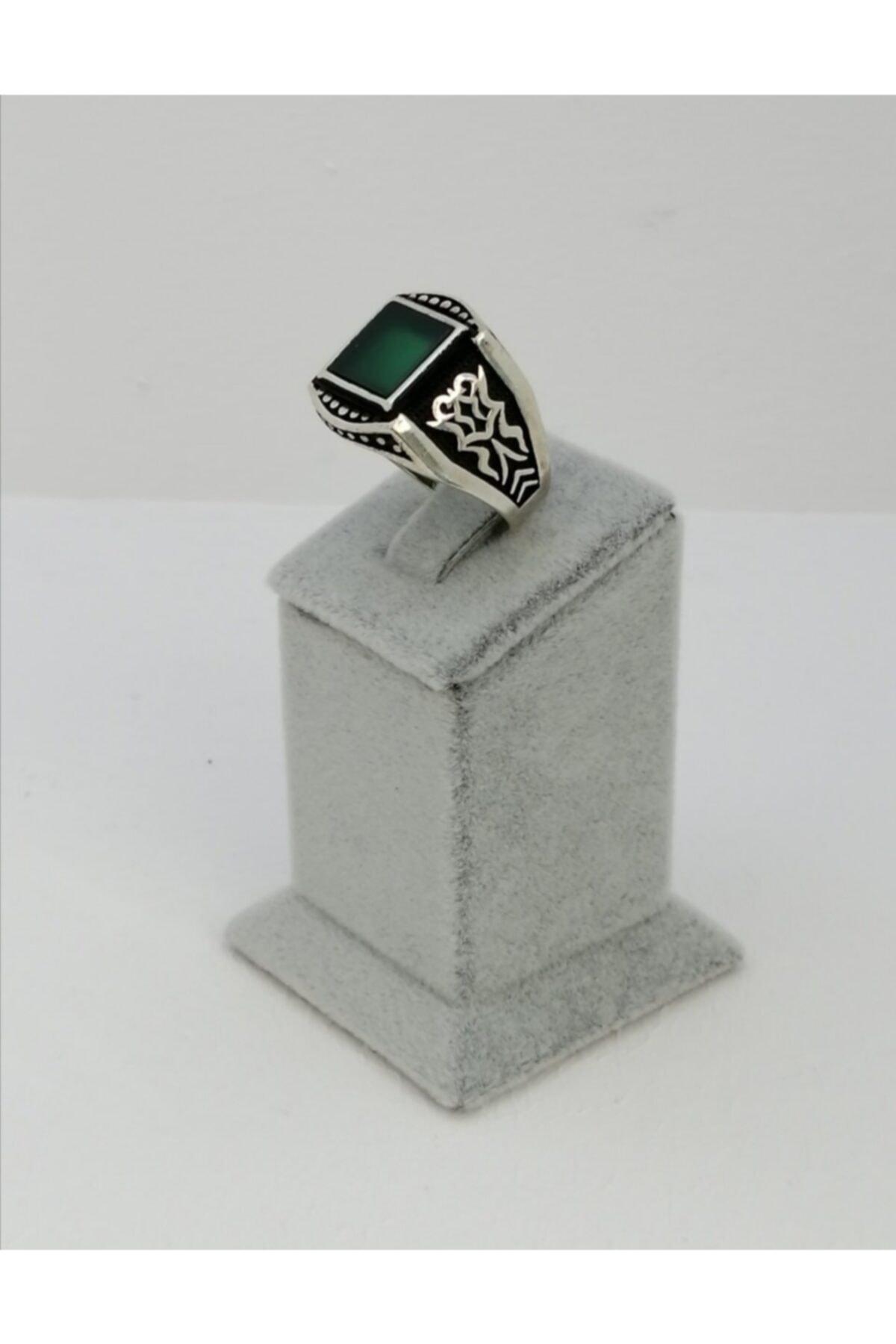 Caran d'Ache Özel Tasarım Özel Işçilik 925 Ayar Gümüş Yeşil Akik Taş Detaylı Yüzük 1