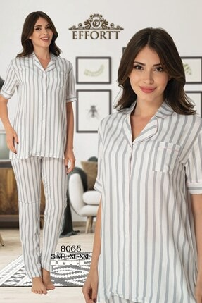 Effort Pijama Effortt 8065 Gri Çizgili Önden Düğmeli Lohusa Pijama