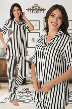 Effort Pijama Effortt 8065 Siyah Çizgili Önden Düğmeli Lohusa Pijama
