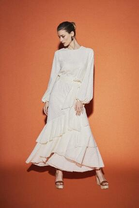 Latifa Kadın Ekru Chane Brode Elbise