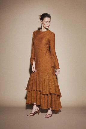 Latifa Kadın Safran Rio Volanlı Elbise Safran