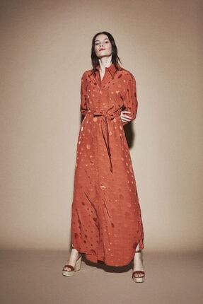 Latifa Kadın Kahverengi Puantiyeli Elbise Macaron Wayn