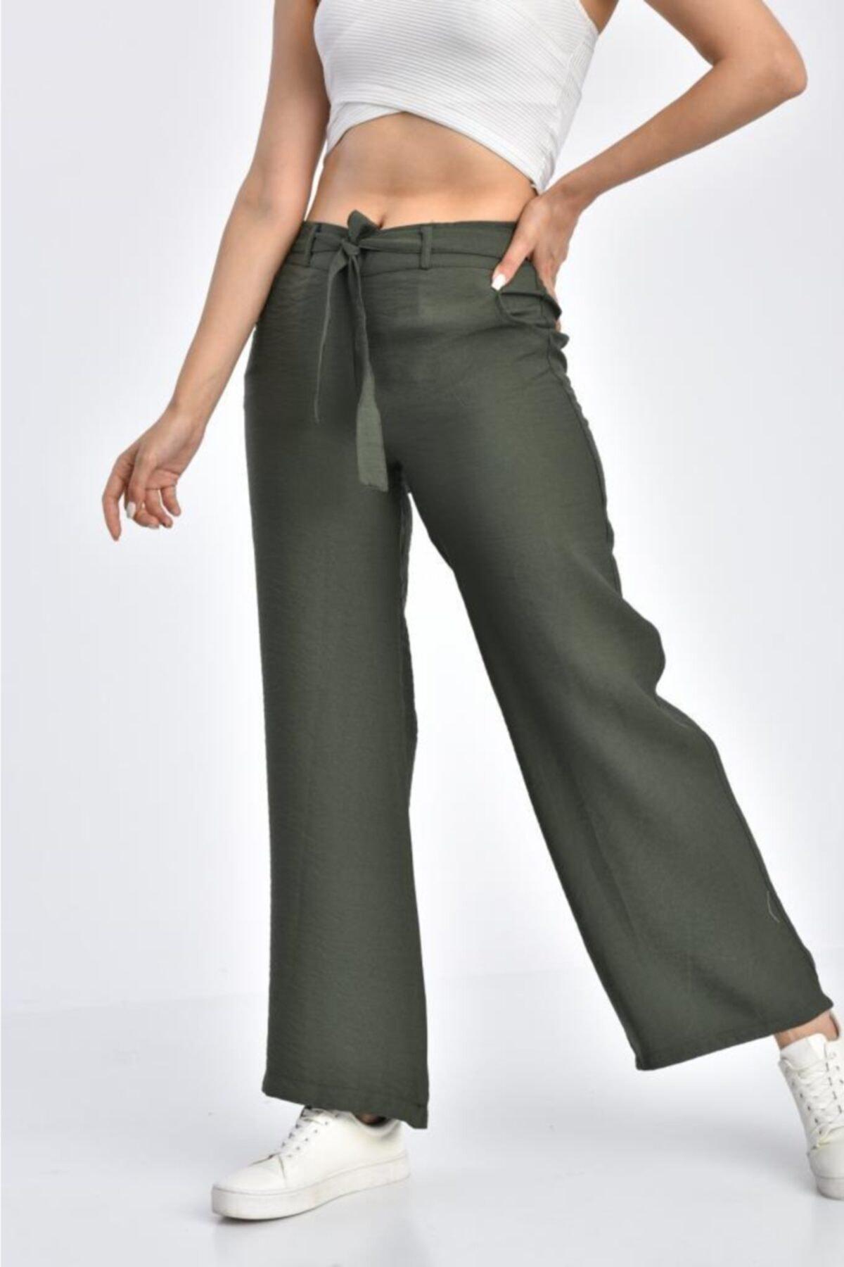 Modkofoni Haki Pantolon Belden Lastikli Kuşaklı Bol Paça Haki Keten Pantolon 2