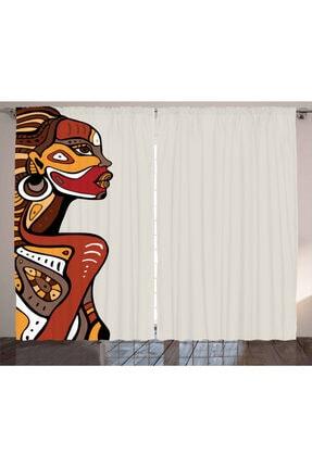 Orange Venue Insanlar Perde Afrikalı Kadın Desenli Rengirenk