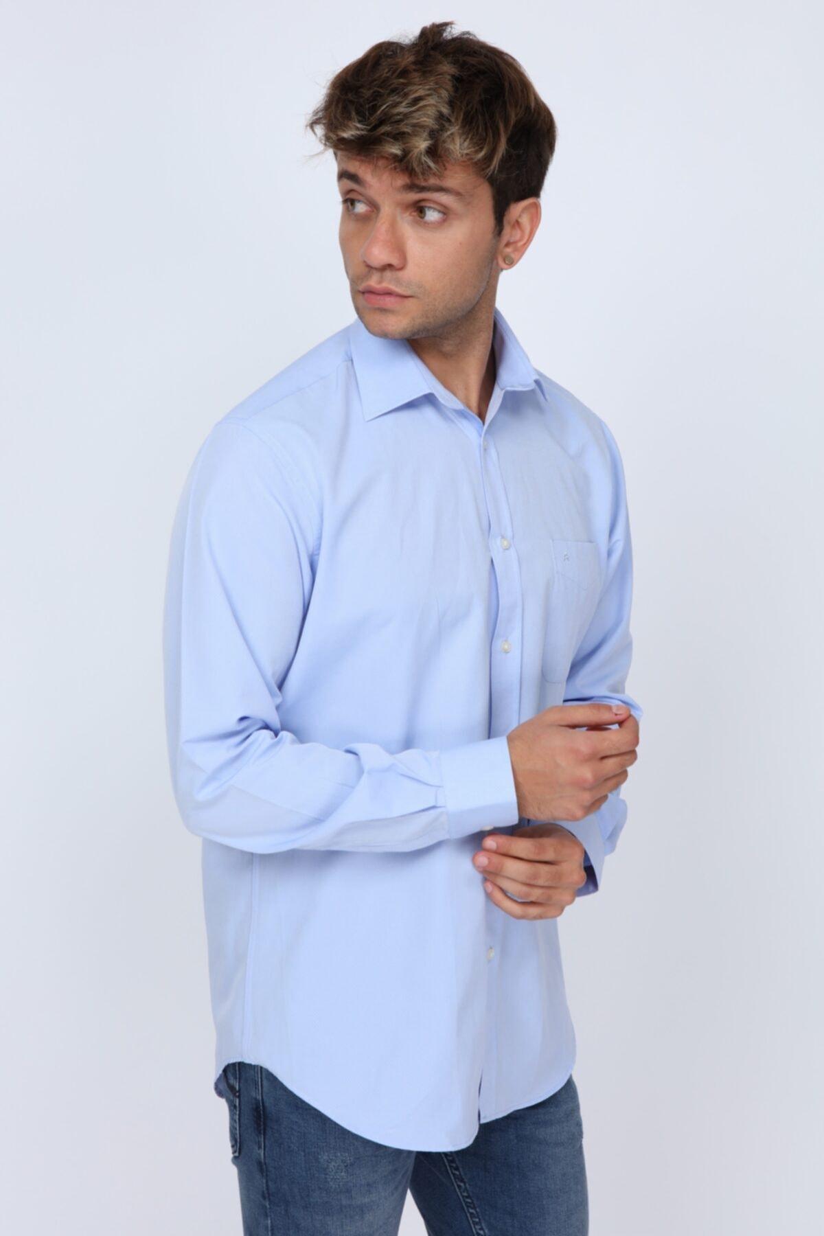 Abbate Erkek Açık Mavi  Club Kumaş Detaylı Regular Fit Gömlek 2