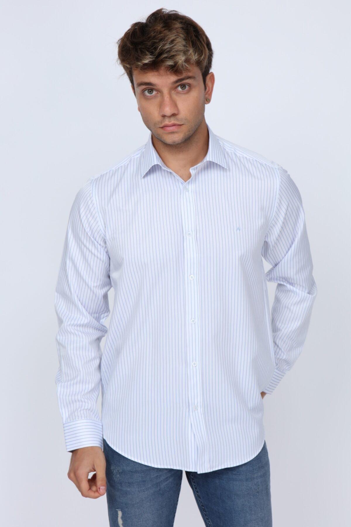 Abbate Club Açık Mavi Çizgili Slim Fit Erkek Gömlek 1