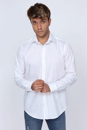 Abbate Kumaş Detaylı Slim Fit Beyaz Erkek Gömlek