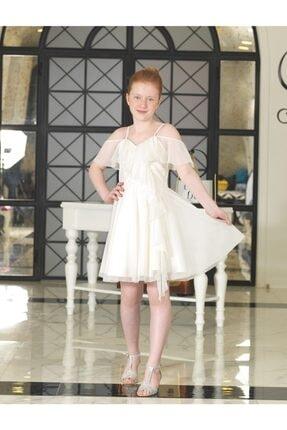 ChatonDor Kız Çocuk Krem 7-15 Yaş Arası Omuz Detaylı Abiye Elbise