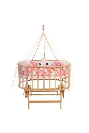 Bebekonfor Doğal Amedan Anne Yanı Sepet Uyku Setli Beşik Örgü Pembe