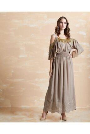 SERPİL Kadın Vizon Işlemeli Fırfırlı Elbise 30723