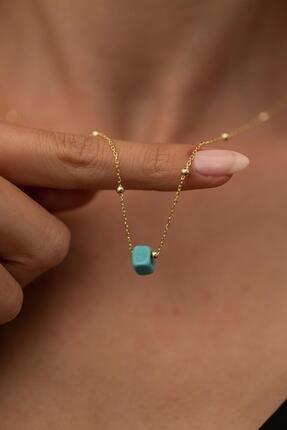 İzla Design Kadın Mavi Boncuk Model Toplu Altın Kaplama Gümüş İtalyan Kolye PKT-TLYSLVR0148