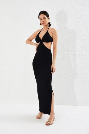 Cool & Sexy Kadın Siyah Beli Açık Kaşkorse Elbise Yİ1814