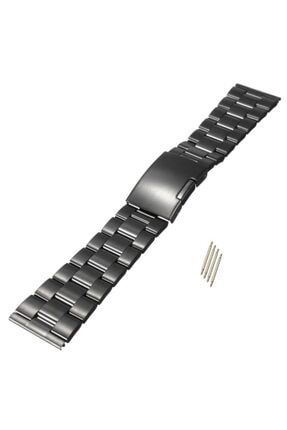 Trendburada Siyah Renk Paslanmaz Çelik Kilitli Metal Saat Kordonu Kayışı 22mm