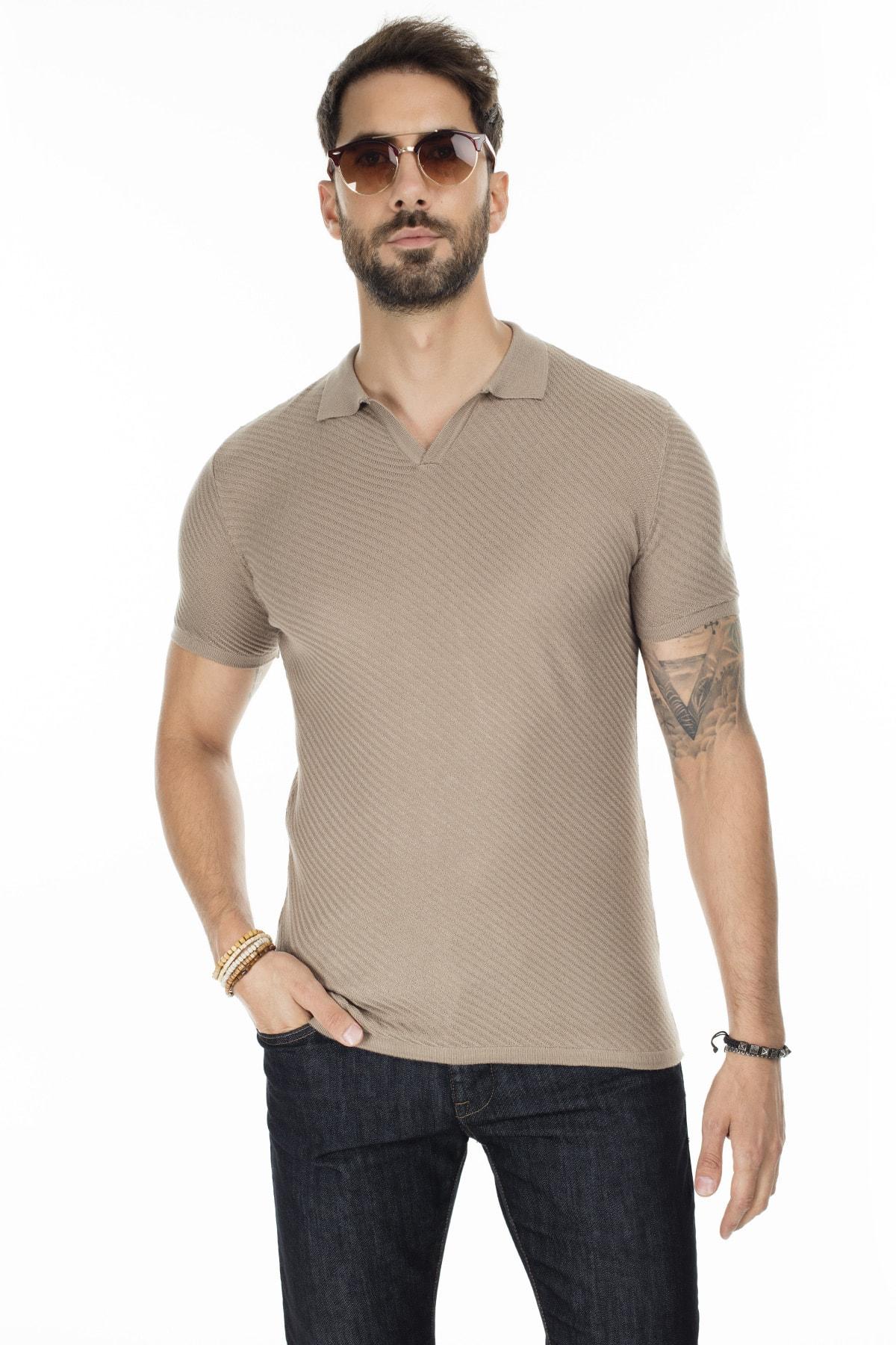 Buratti Erkek Vizon Triko Polo Yaka Slim Fit Günlük T Shirt Abk61005Lns