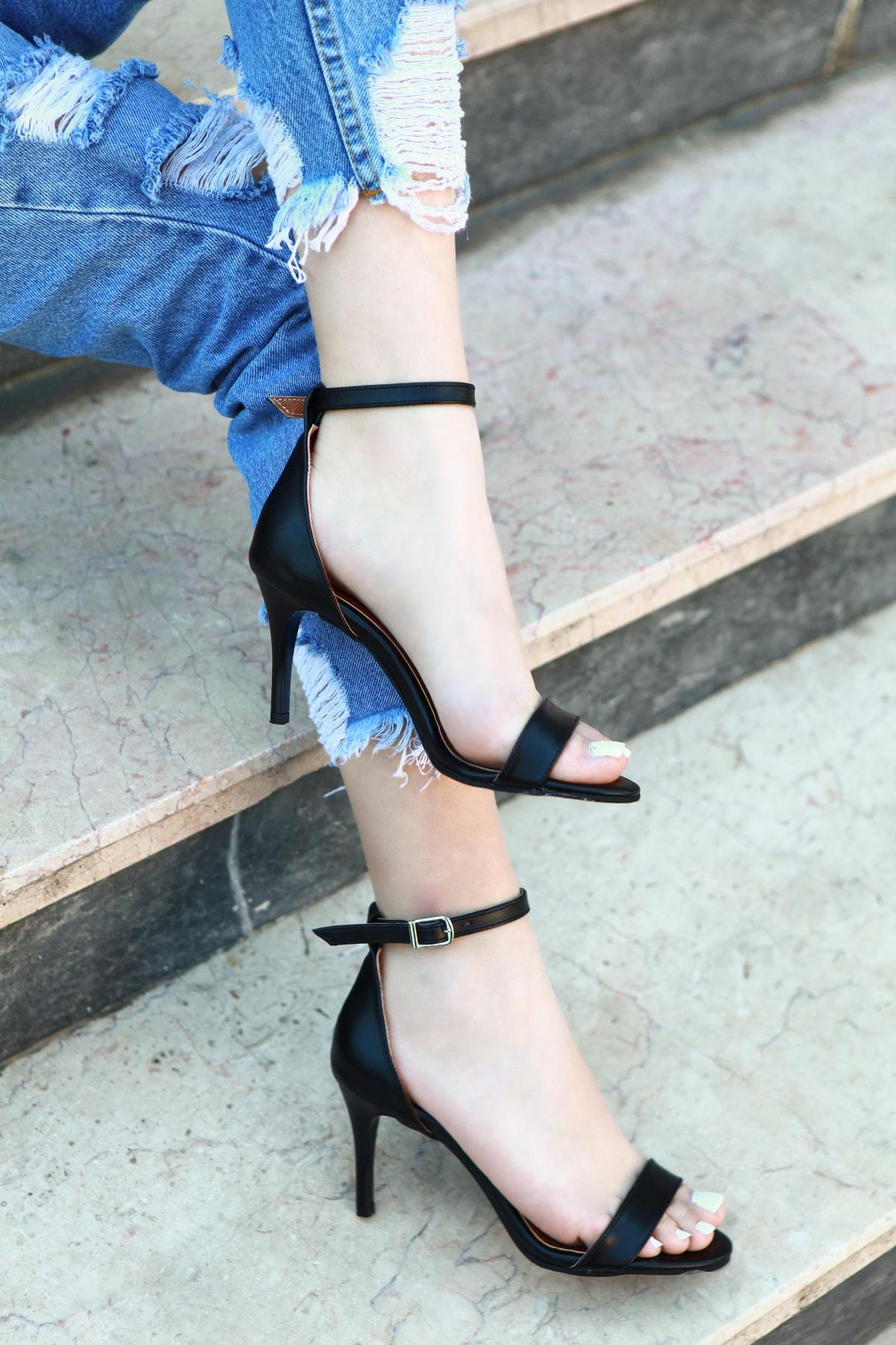 TRENDBU AYAKKABI Kadın Siyah Topuklu Ayakkabı 2