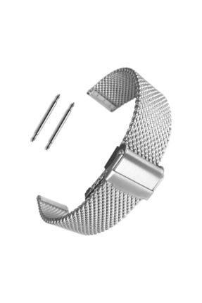 Trendburada 22mm Gümüş Renk Kalın Hasır Metal Saat Kordonu Kayışı