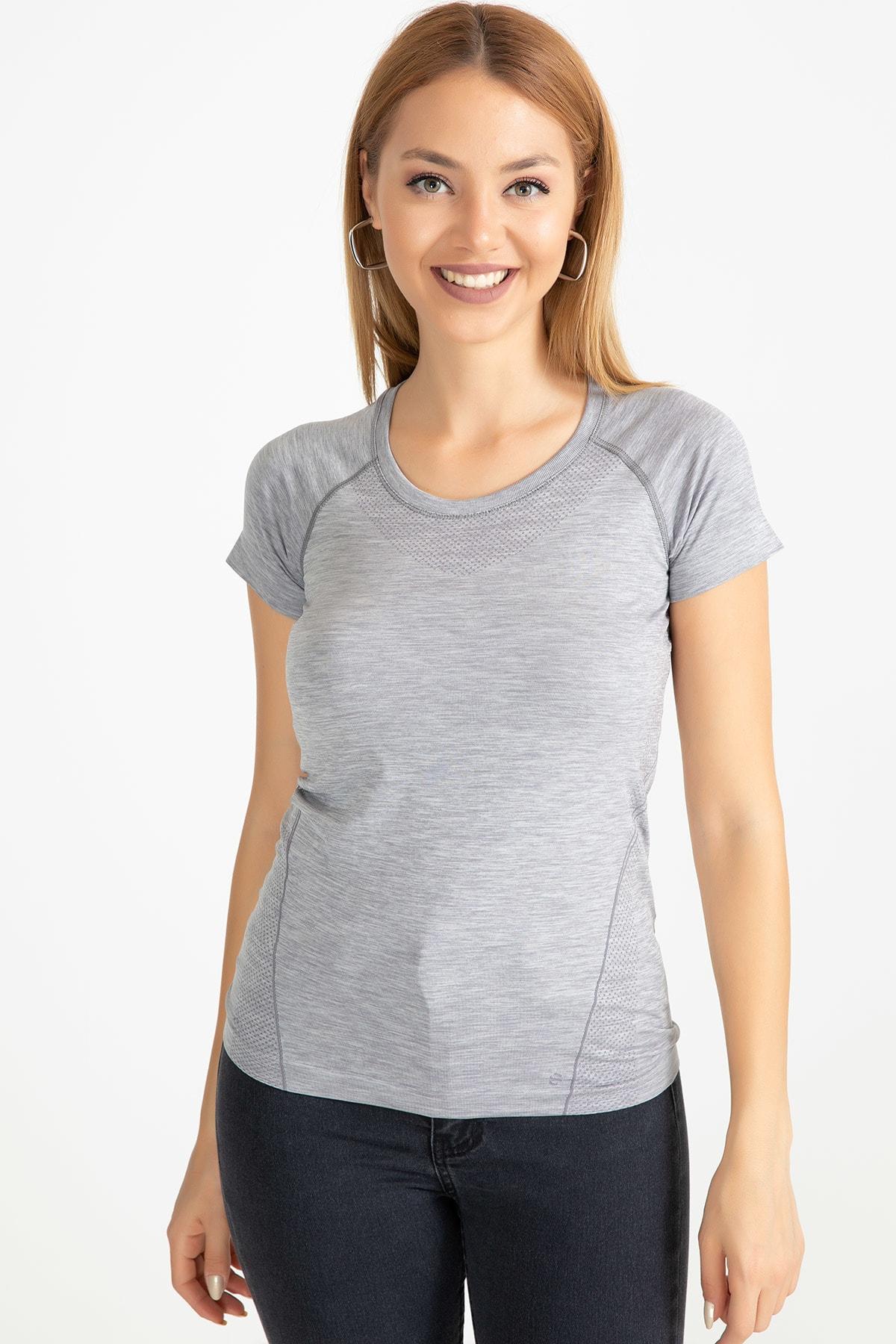 D-Paris Kadın Gri Sporcu T-Shirt 41034744880 1