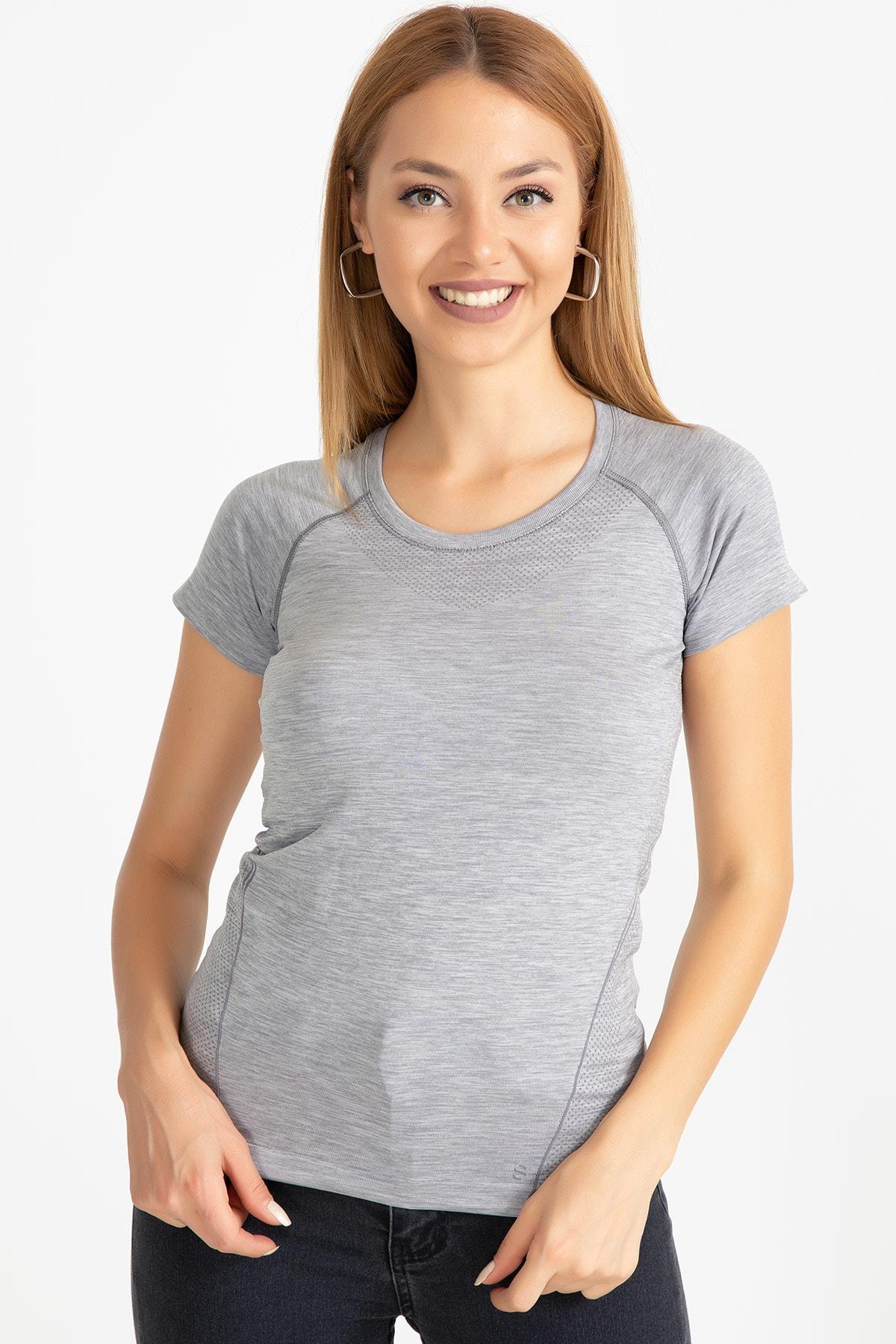 D-Paris Kadın Gri Sporcu T-Shirt 41034744880 2