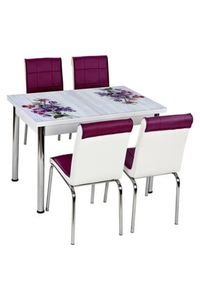 messline 4-sandalyeli Açılabilir Cam Mutfak Masa Takımı Mor