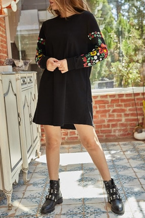 XHAN Kadın Siyah Kolları Çiçekli Elbise 9YXK6-41815-02