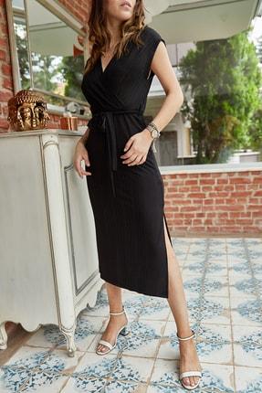 XHAN Kadın Siyah Kruvaze Kemerli Elbise 0YXK6-43374-02