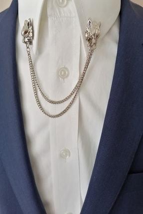 Kravatistan Kurt Gömlek Yaka Iğnesi Silver