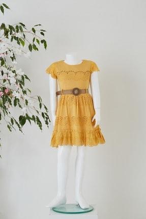Pafim Kız Çocuk Yarm Kol Dantel Elbise
