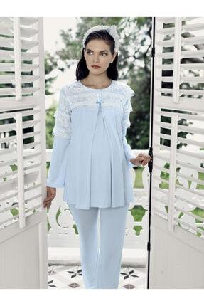 Artış Kadın Mavi  Lohusa Pijama Takımı 7212