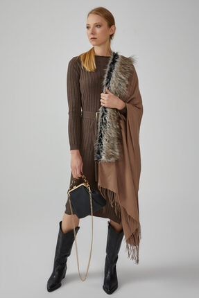 Gusto Kadın Kahverengi Kalın Fitilli Triko Elbise