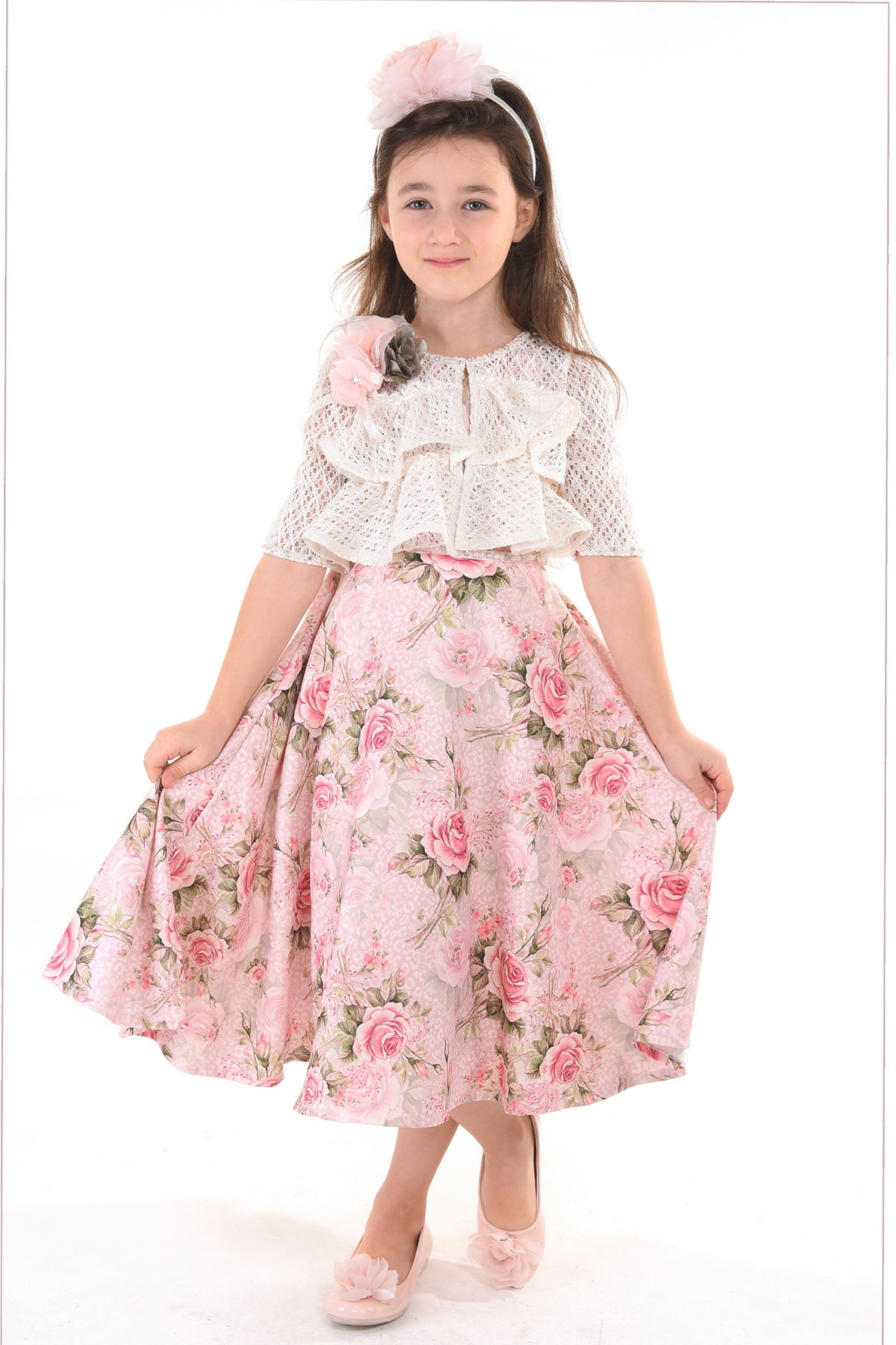 Mialora Couture Pembe, Bolerolu, Çiçekli, Taçlı Kız Çocuk Abiye Elbise 1