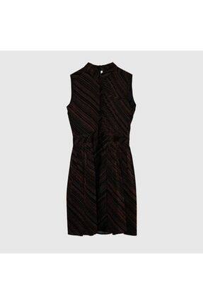 Yargıcı Kadın Siyah Desenli Kırma Detaylı Elbise 8Kkel7114X