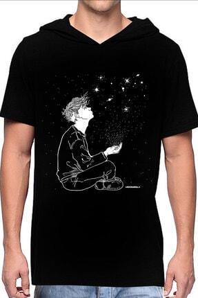 Rock & Roll Yıldızların Altında Siyah Kapşonlu Kısa Kollu Erkek T-shirt