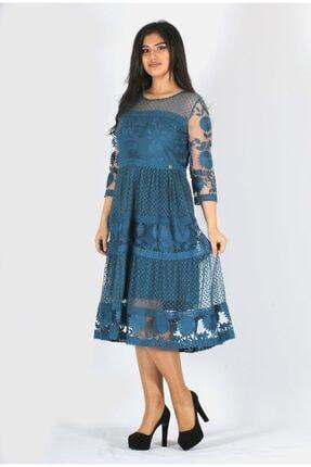 rapellin Kadın Straplez Yaka Dantel Detaylı Mavi Büyük Beden Abiye Elbise