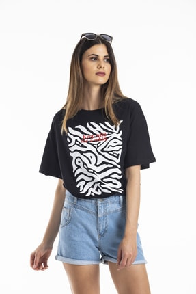 bunubanayolla Kadın Beyaz Karışık Baskılı Siyah Tshirt