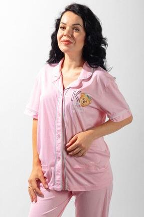 Katia&Bony Teddy Bear Düğmeli Kadın Pijama Takımı - Pembe