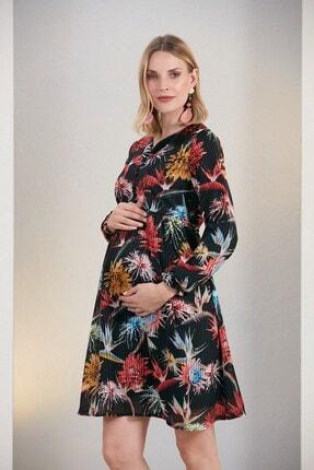 Görsin Hamile Kadın Siyah Çiçek Desen Hamile Elbise