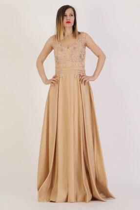 Günay Giyim Kadın Gold Askılı Abiye Elbise 11273200004709