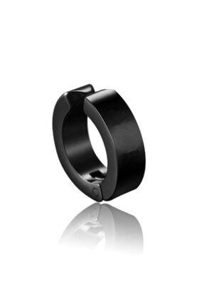 VipBT Deliksiz Sıkıştırmalı Titanyum Çelik Erkek Küpe Kıskaçlı Yaylı Siyah