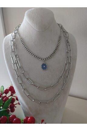 HTC Kadın Gümüş Kolye Seti Blue_moon_taki