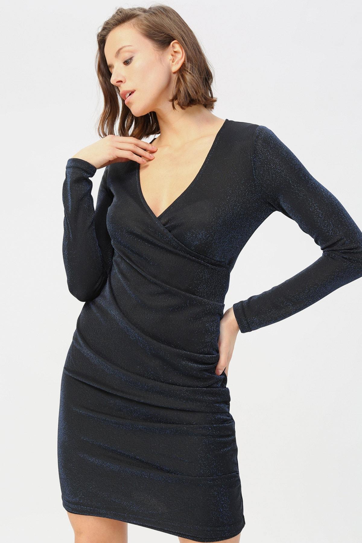 Vero Moda Kadın Mavi Parıltılı Kruvaze Yaka Elbise MDENISE 1