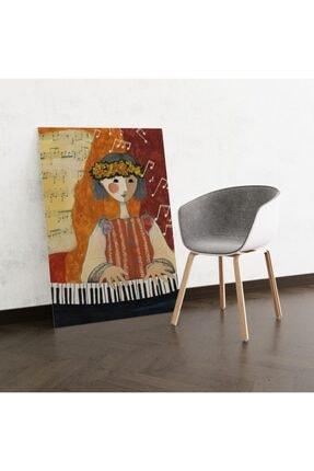 Dekoliya Piyano Çalan Kız Tamalı Tablo