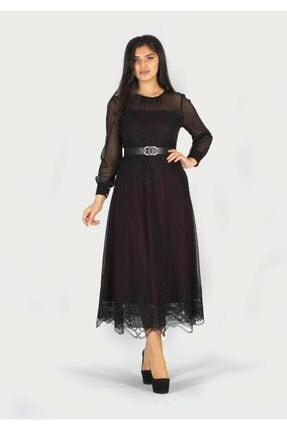 rapellin Kemer Detaylı Straplez Yaka Elbise