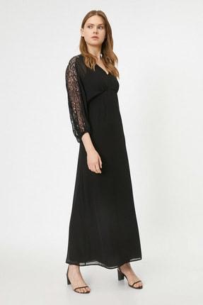 Koton Kadın Siyah V Yaka Uzun Kollu Kol Detayli Maxi Elbise 0KAK84377FW