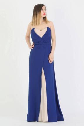 Günay Giyim Kadın Saks Mavi Straplez Abiye Elbise 41243100009001