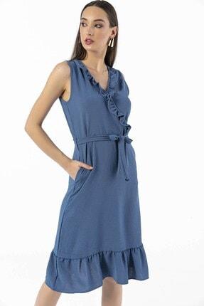 By Saygı Önü Eteği Volanlı Kuşaklı Krep Elbise Mavi