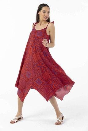 By Saygı Askılı Şal Desen Asimetrik Viskon Elbise Kırmızı