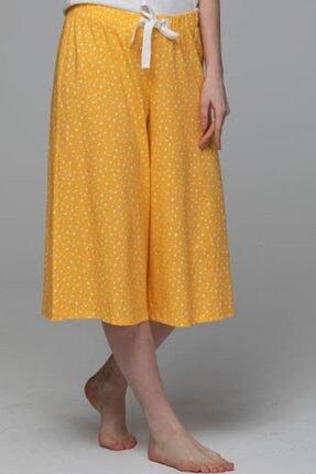 JUST BASIC Lotus Kapri Sarı Beyaz Puanlı Pijama Alt