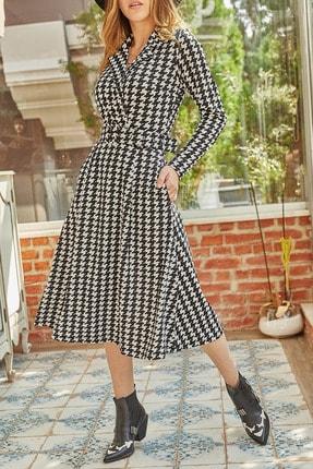 XHAN Kadın Siyah Kazayağı Desenli Kemerli Elbise 9yxk6-41914-02