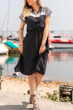 XHAN Kadın Siyah Puantiyeli Marina Elbise 0YXK6-43469-02